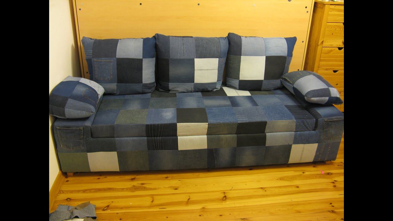 Diy jeans sofa build a simple comfortable jeans sofa with simple tools and a little free time Denim couch and loveseat