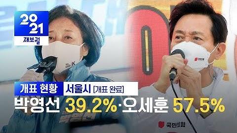 [서울시 개표완료]박영선 39.2%·오세훈 57.5% / KBS 2021.04.08.