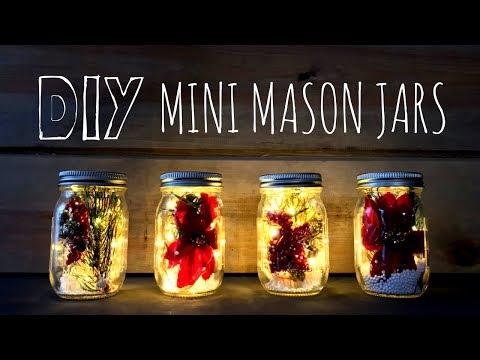 How to Make Mini Christmas Mason Jars | Fairy Lights & Farmhouse Style | DIY Christmas Décor