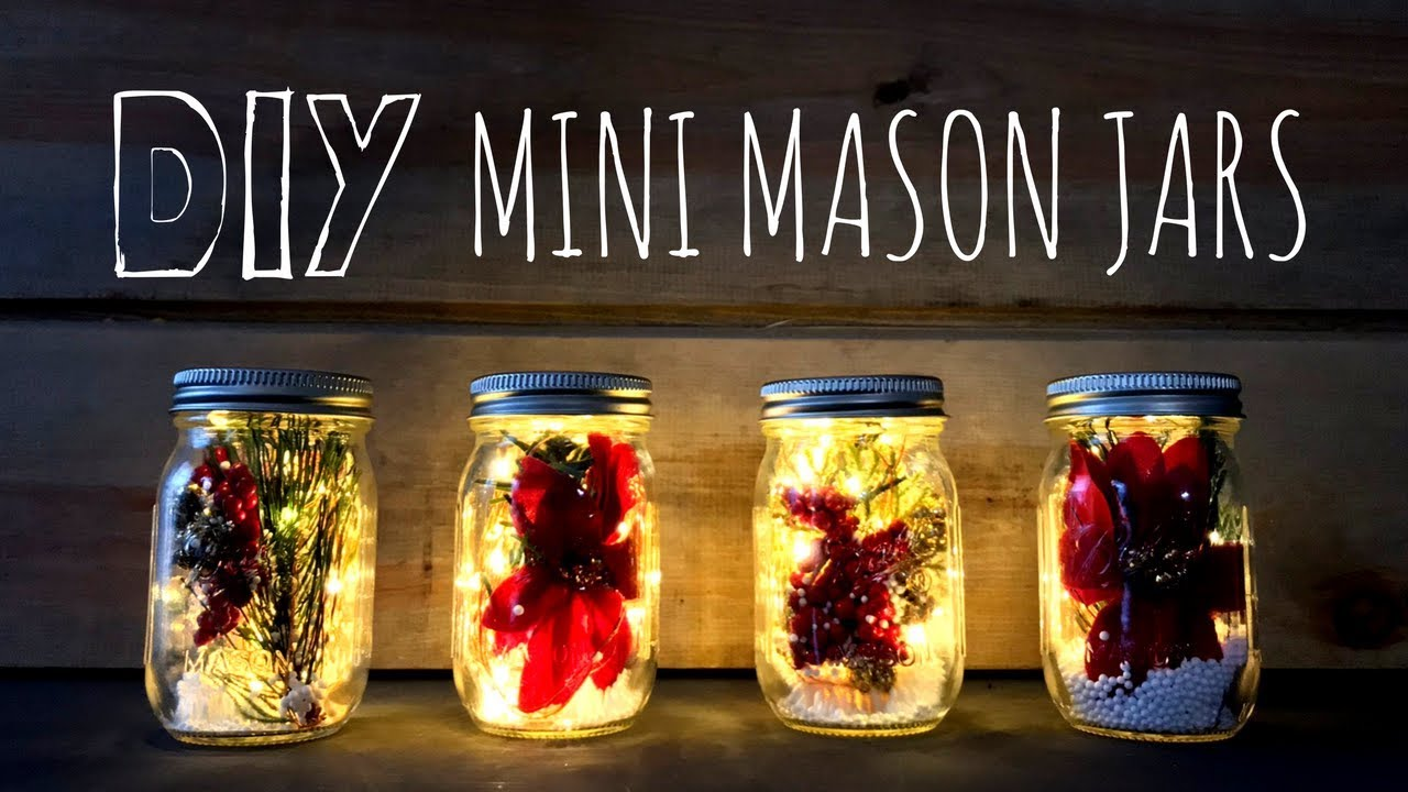 How To Make Mini Christmas Mason Jars Fairy Lights Farmhouse Style Diy Christmas Decor Youtube