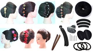 7 easy french roll hairstyle with using hair tools   french twist   french bun hairstyle   hairstyle