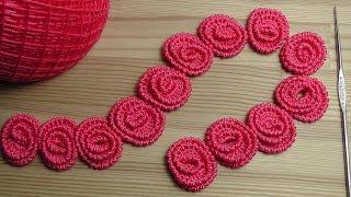 Ленточное кружево РОЗОЧКИ  урок вязания крючком Crochet lace tape
