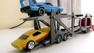 TOY CAR TRUCK TRAILER TRANSPORT CARS FROM ONE PLACE TO ANOTHER