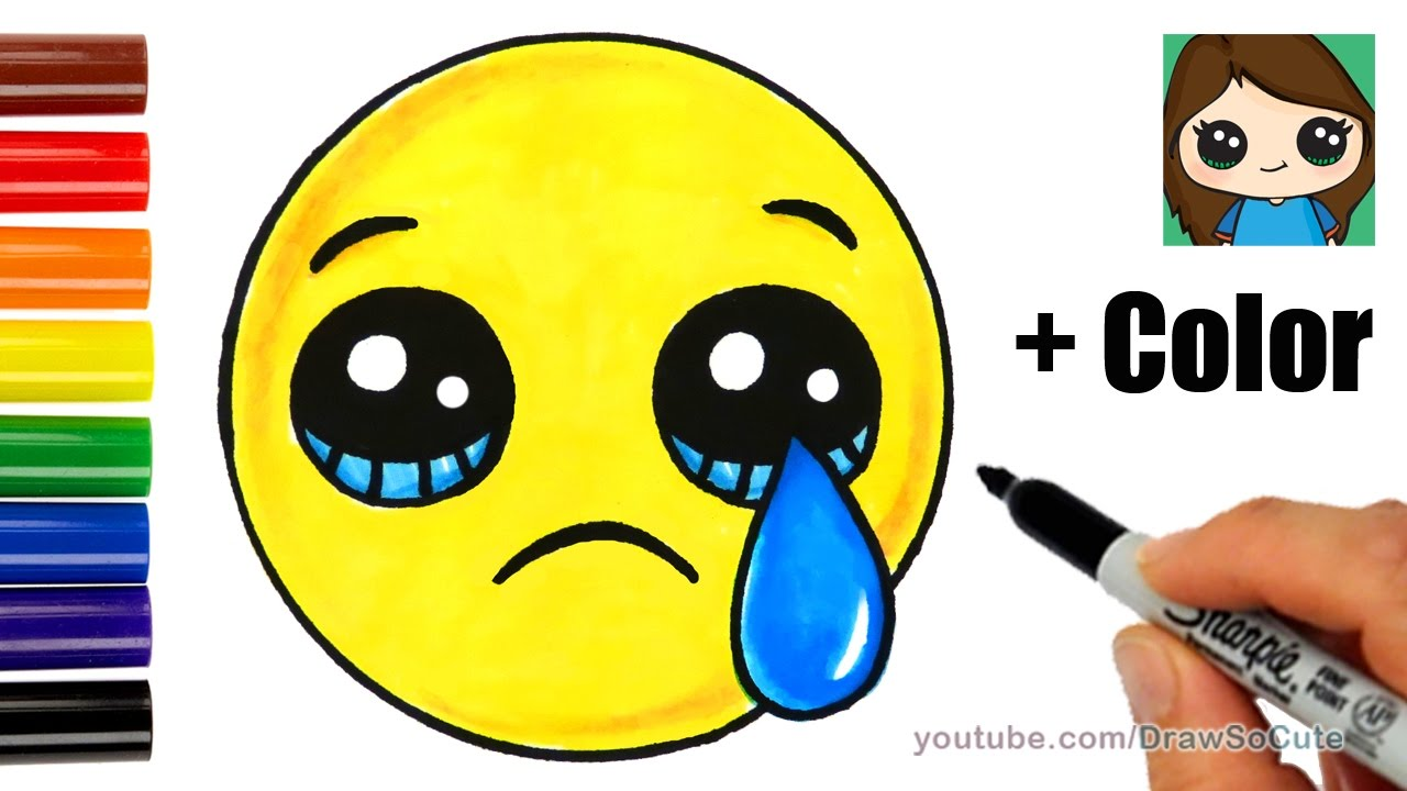 How To Draw A Sad Face Emoji Easy With Coloring Youtube