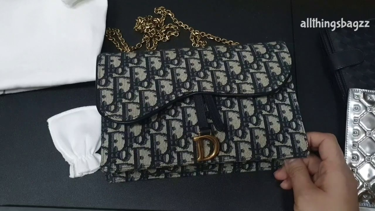 Dior Saddle Wallet On Chain What Fits Mod Shots And More Youtube
