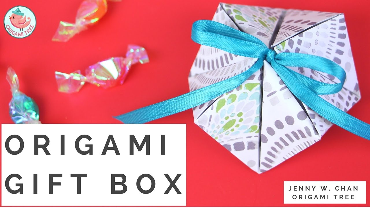 Origami Gift Box (ONE 1 Sheet of Paper!) - How to Make a Geometric ...