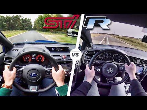 Subaru WRX STi vs VW Golf R Acceleration Exhaust Sound & POV Drive by AutoTopNL