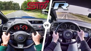 Subaru WRX STi vs VW Golf R Acceleration Exhaust Sound & POV Drive ...