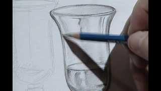 How to draw a wine glass 3 / Cómo dibujar una copa de cristal 3