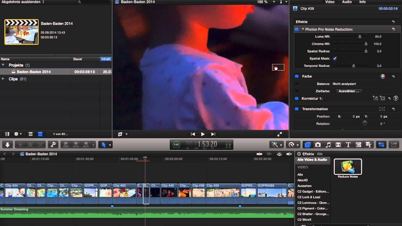 FCPX plugin Photon Pro vs  Neat Video Noise Reduction