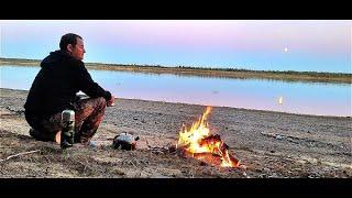 Ночь на берегу реки Печора. Рыбалка.