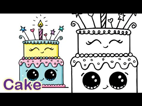 How To Draw A Cartoon Birthday Celebration Cake Cute And Easy Youtube