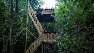 Girl Living Off The Grid, Build The Most Beautiful Bamboo Tree House Near My Village