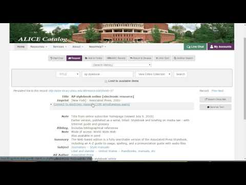 How To: Access the AP Stylebook Online via the Ohio University Libraries