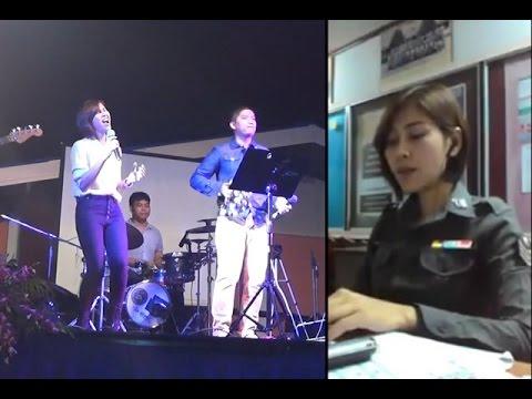 แห่แชร์คลิป!ตำรวจหญิงร้องเพลงเสียงสุดฟิน