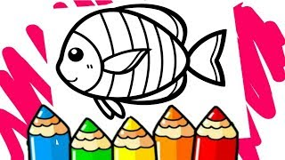 Learn 19 colors | Drawing and Coloring fish | Coloring glitter