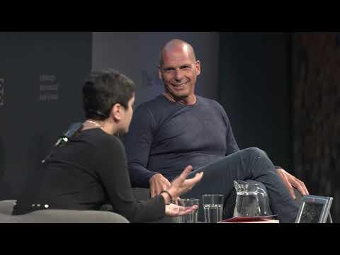 Yanis Varoufakis with Shami Chakrabati at the Edinburgh Book Festival, August 18, 2018 | DiEM25
