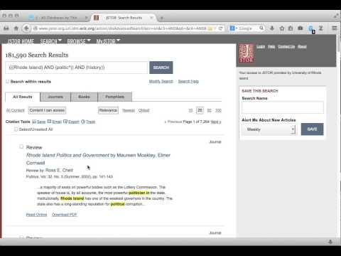 Quick Introduction to Searching JSTOR