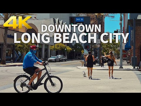 LONG BEACH - Walking Downtown Long Beach City, Los Angeles, California, USA - 4K UHD