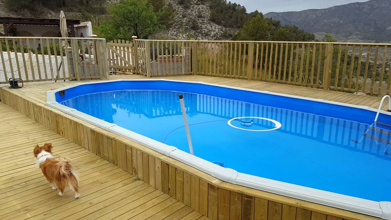 Above ground pool and deck build - YouTube