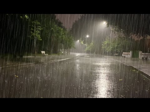Sleep Instantly With Heavy Rainstorm \u0026 Powerful Thunder Sounds Covering The Rainforest Park At Night