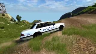 Полицейская машина упала с дороги в овраг  Полицейские машинки мультик