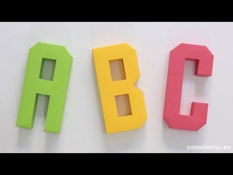 Cómo hacer letras 3D de papel o cartulina (Plantillas Abecedario A-Z)