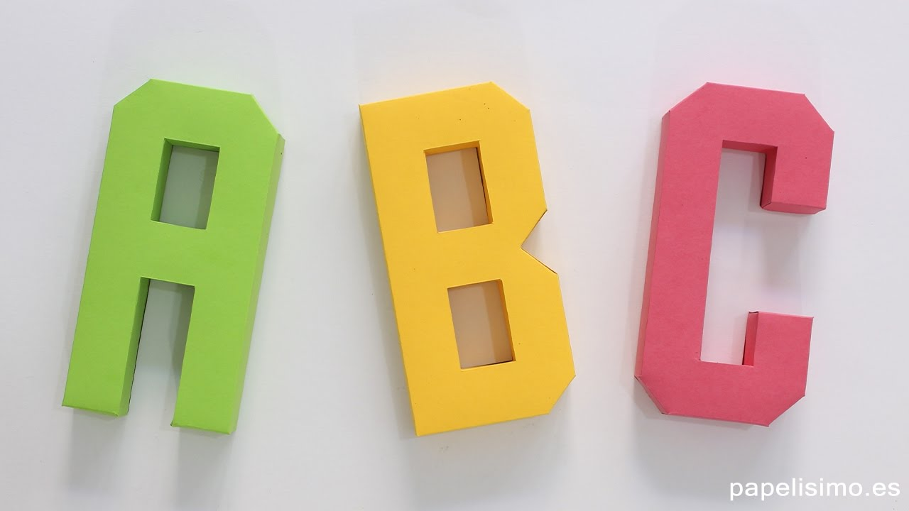 Cómo hacer letras 3D de papel o cartulina (Plantillas Abecedario A-Z ...
