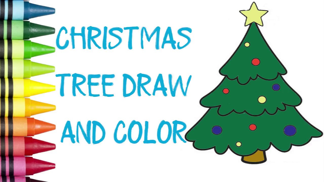 Simple Christmas Tree Coloring |Coloring Pages for Kids - YouTube