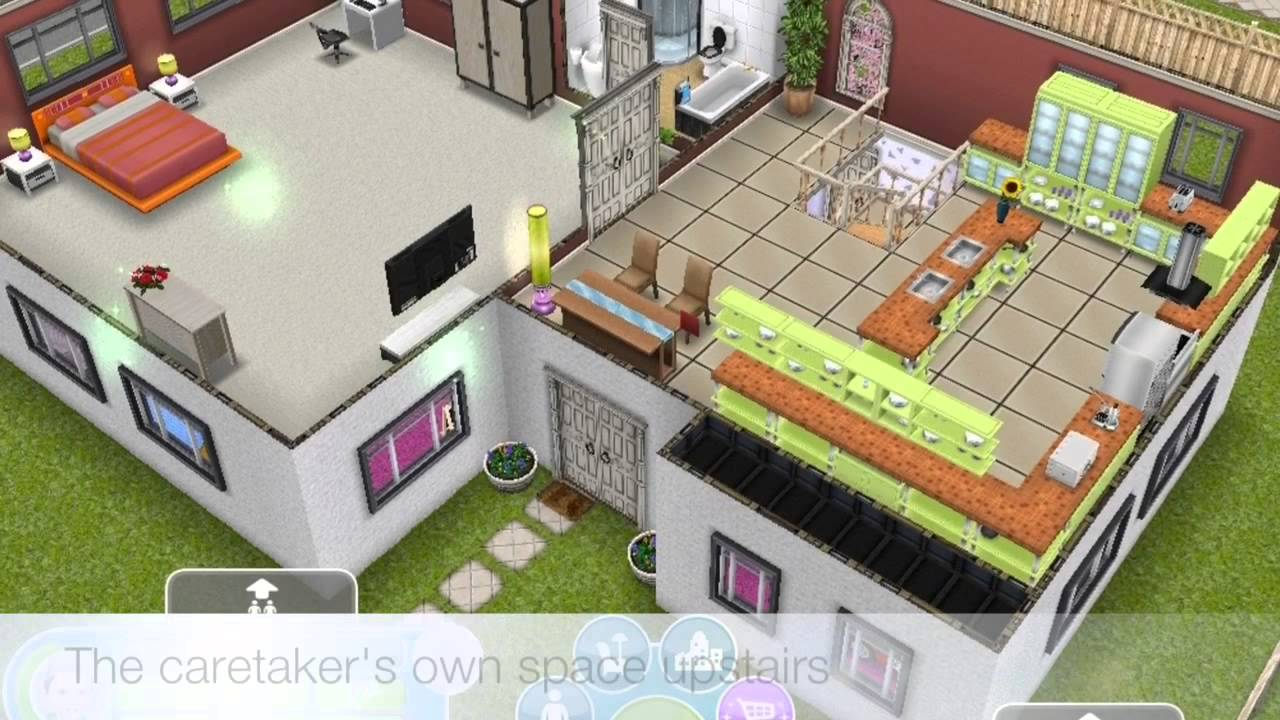 Sims Freeplay: My Daycare and Cabin/Loft inspired house - YouTube