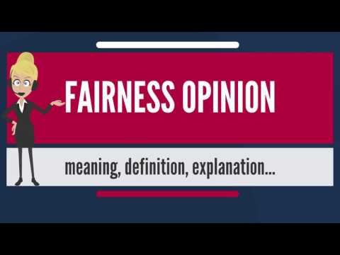 What is FAIRNESS OPINION? What does FAIRNESS OPINION mean? FAIRNESS OPINION meaning & explanation