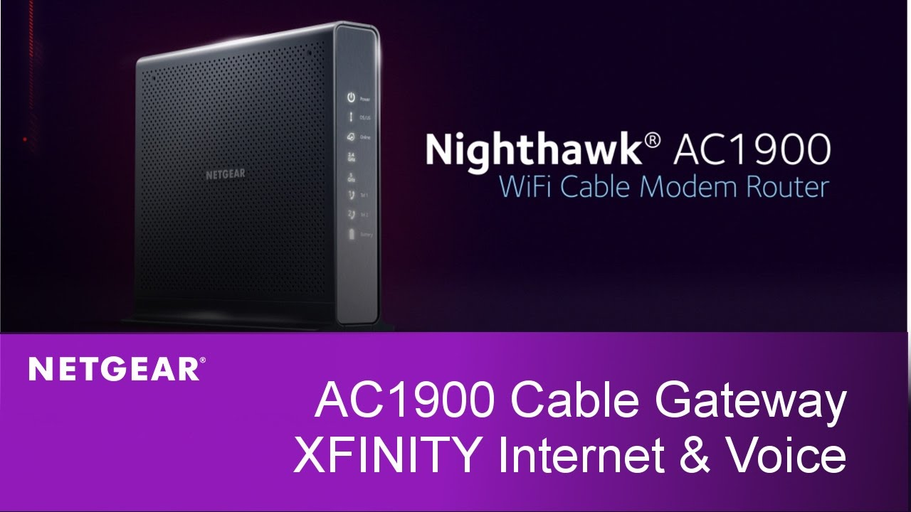 small resolution of nighthawk wifi cable modem router with xfinity internet and voice netgear c7100v youtube
