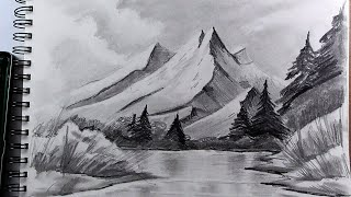 mountains drawing pencil realistic easy draw step mountain drawings sketches way landscape pen