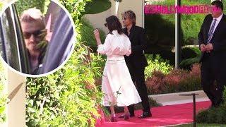 David, Victoria & Harper Beckham Attend Eva Longoria