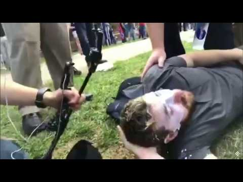 BAKED ALASKA MACED AT VIRGINIA CHARLOTTESVILLE NEO-NAZI WHITE SUPREMACIST PROTEST HIT WITH BEAR MACE