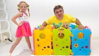 Nastya como uma babá para o pai