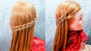 Прически четырех прядное плетение водопад стиль распущенные волосы быстрая прическа hair