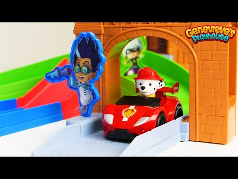 PJ Masks and Paw Patrol toy Racing Video!