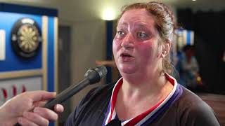 Anca Zijlstra talks after her 4-3 win over Trina Gulliver on the BDO World Trophy oche