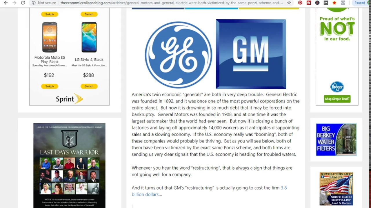 The Great Fall What Gm And Ge Going Bust Really Means Crash Imminent Greatful Financial Information Information Age