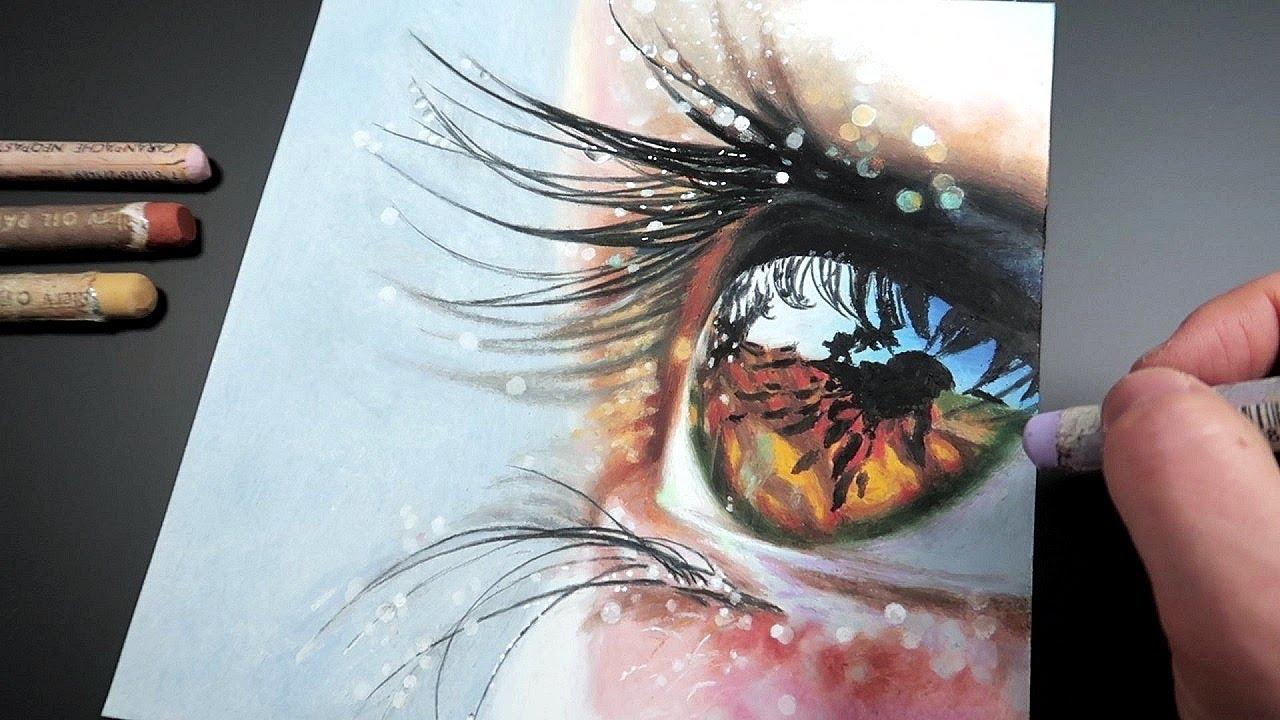 Oil Pastel Drawing|Realistic Eye Drawing|반짝이는 눈동자 그리기|오일파스텔화