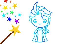 魔法画画 - 怎样画艾莎公主 Learn to draw princess elsa_color with magic