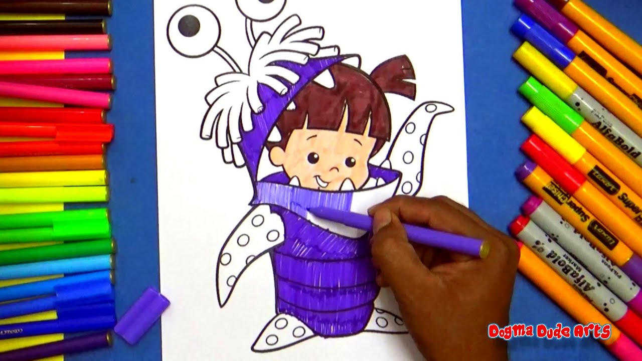boo costume monsters inc coloring pages for kids