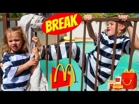 McDonalds Jail Behind the Scenes with Kids Water Fight!  Playing Paw Patrol and Eating McDonald Food