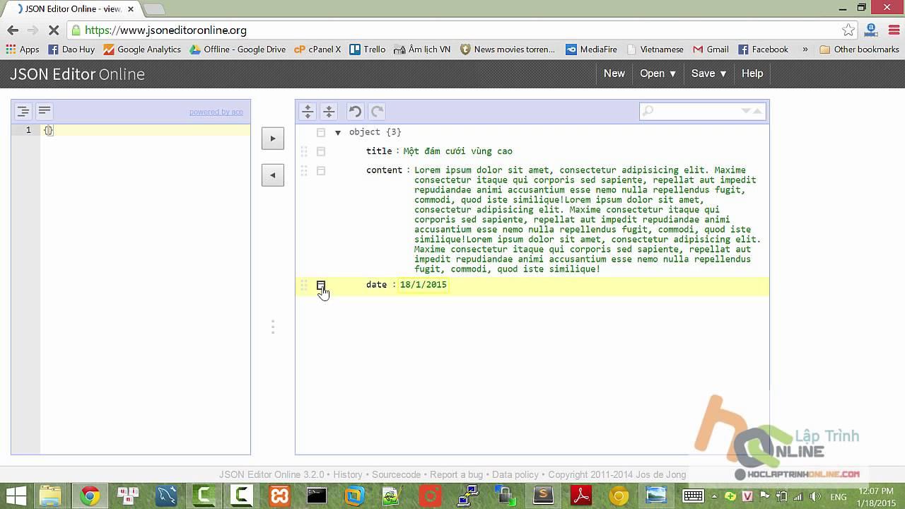 Sử dụng JSON editor online