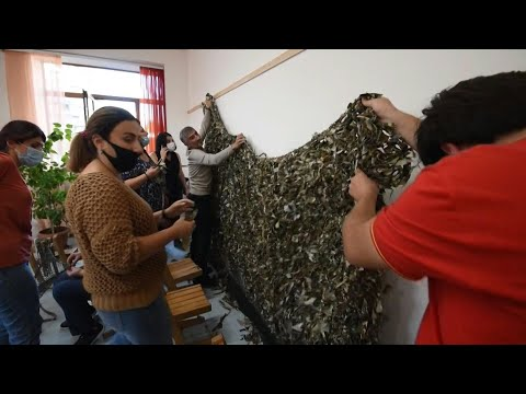 Armenia: Parents And Teachers Make Camouflage Nets For Karabakh Soldiers   AFP