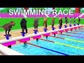 Animals Cartoon Swimming Race Motor Bike Race Swimming Pool For Kids | Learn Animal Names And Sounds
