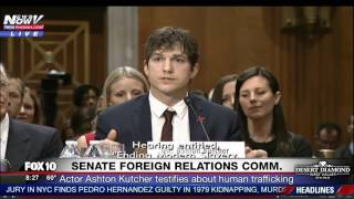 FULL: Ashton Kutcher Near TEARS in EMOTIONAL Opening Testimony at Hearing on Human Trafficking (FNN)