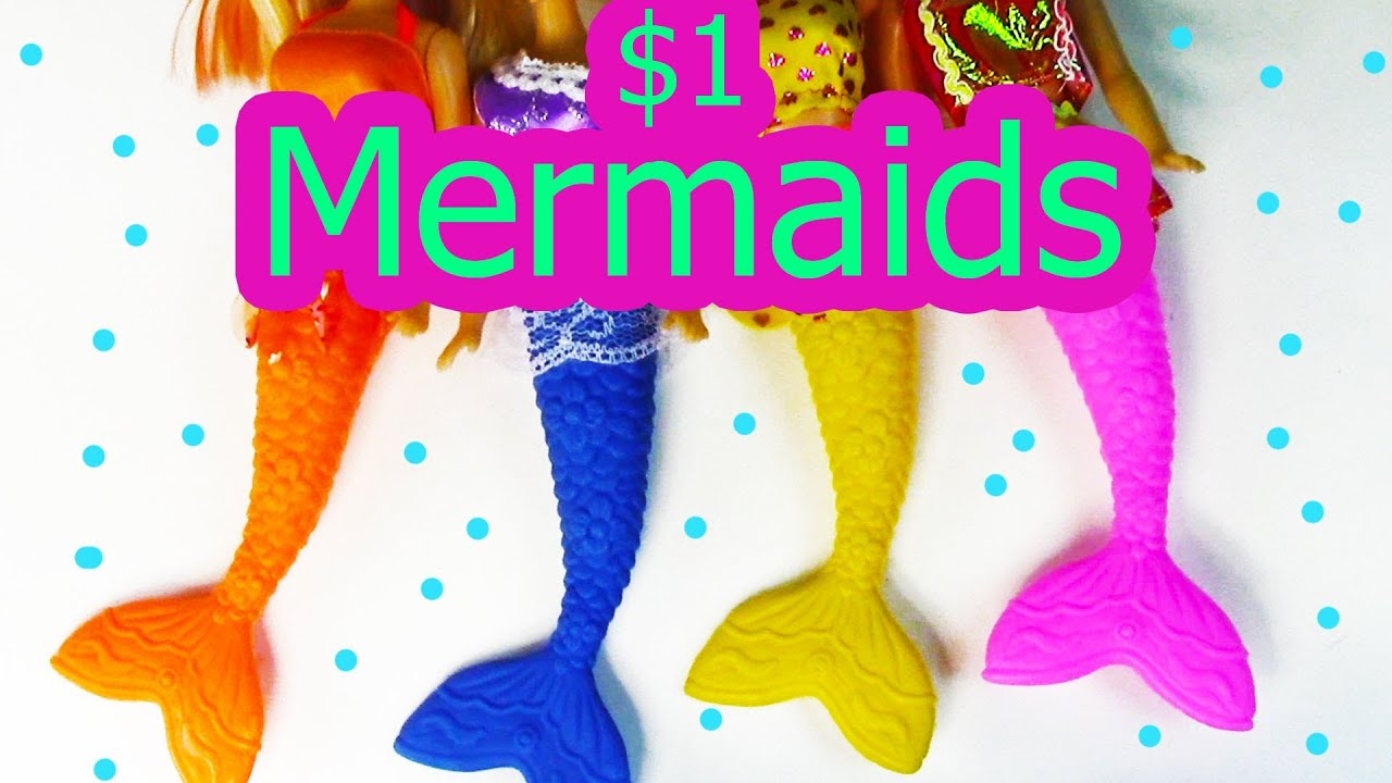 5 Dollar Toys : Mermaid barbie sirene dolls dollar tree store haul