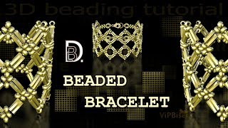 """DBL"" Gold Beaded Bracelet with Bugle Beads. 3D Beading Tutorial"